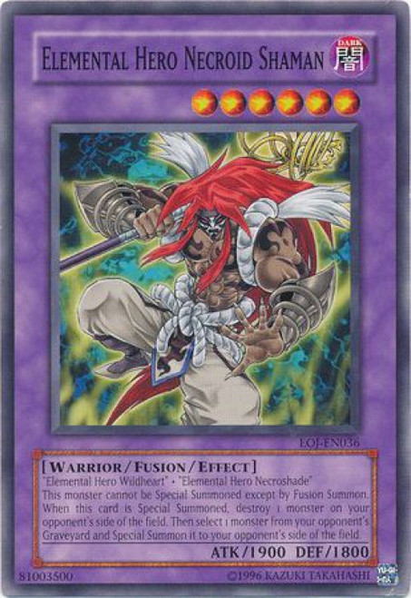 YuGiOh GX Trading Card Game Enemy of Justice Common Elemental Hero Necroid Shaman EOJ-EN036
