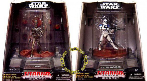 Star Wars The Clone Wars Titanium Series 2007 Set of IG-88 & Clone Trooper Diecast Figures