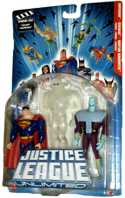 Justice League Unlimited Series 1 Superman, Martian Manhunter & Brainiac Action Figure 3-Pack [Clear White]