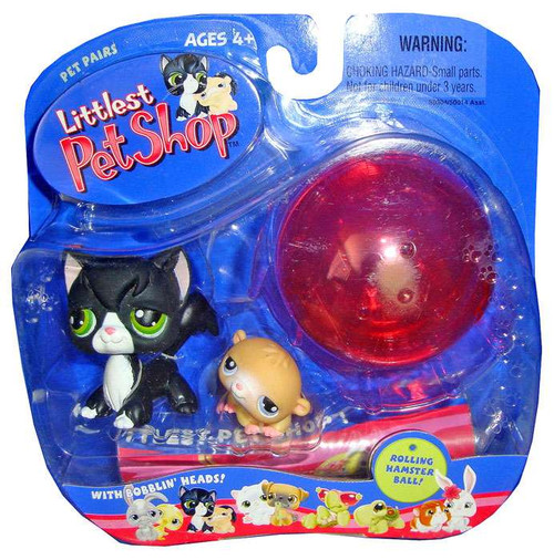 Littlest Pet Shop Pet Pairs Black Kitty & Hamster Figure 2-Pack