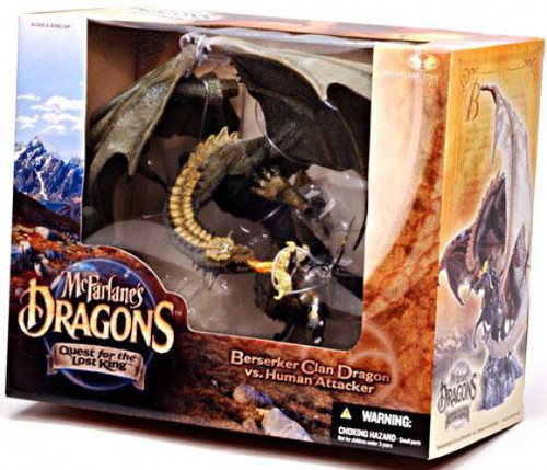 McFarlane Toys Dragons Quest for the Lost King Series 1 Berserker Clan Dragon vs. Human Attacker Action Figure Set