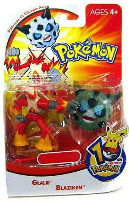 Pokemon 10th Anniversary Fire Type vs. Ice Type Pack Exclusive Mini Figure 2-Pack [Glalie & Blaziken]