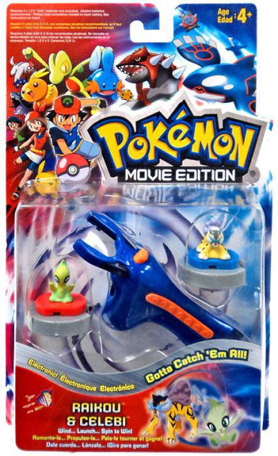 Pokemon Movie Edition Electronic Turbo Tops Raikou & Celebi Launchers