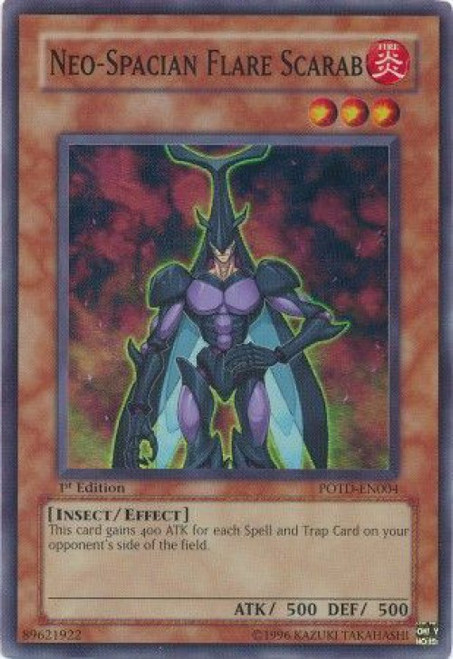 YuGiOh GX Trading Card Game Power of the Duelist Super Rare Neo-Spacian Flare Scarab POTD-EN004