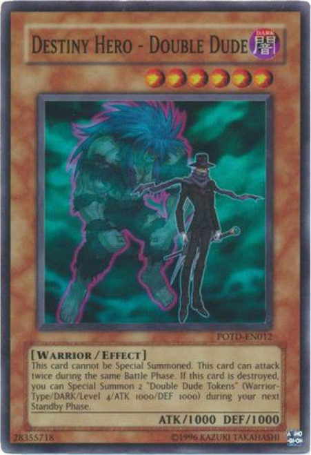 YuGiOh GX Trading Card Game Power of the Duelist Super Rare Destiny Hero - Double Dude POTD-EN012