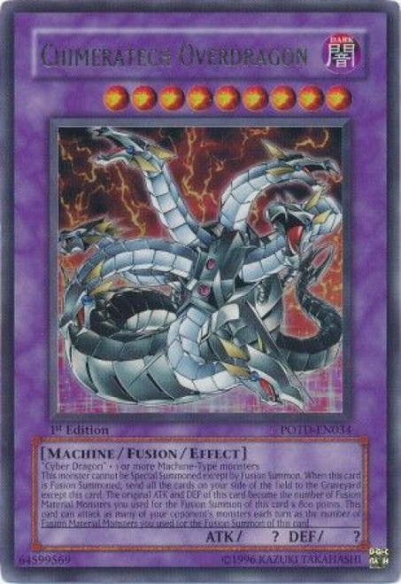 YuGiOh GX Trading Card Game Power of the Duelist Ultra Rare Chimeratech Overdragon POTD-EN034