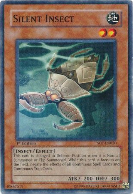 YuGiOh GX Trading Card Game Shadow of Infinity Common Silent Insect SOI-EN020