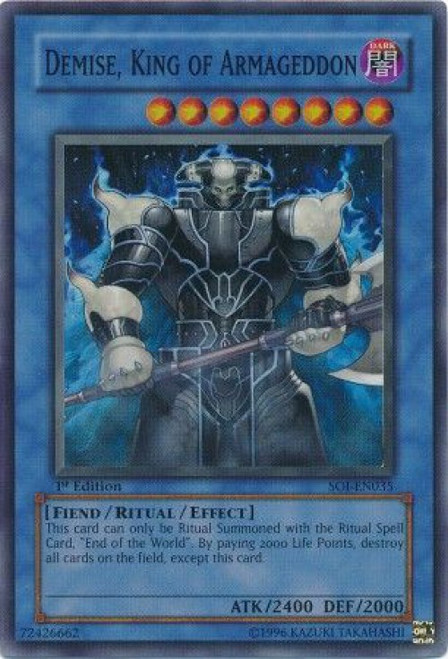 YuGiOh GX Trading Card Game Shadow of Infinity Super Rare Demise, King of Armageddon SOI-EN035