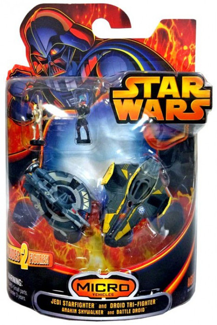 Star Wars Micro Vehicles Jedi Star fighter and Droid Tri-fighter Exclusive Mini Vehicle 2-Pack