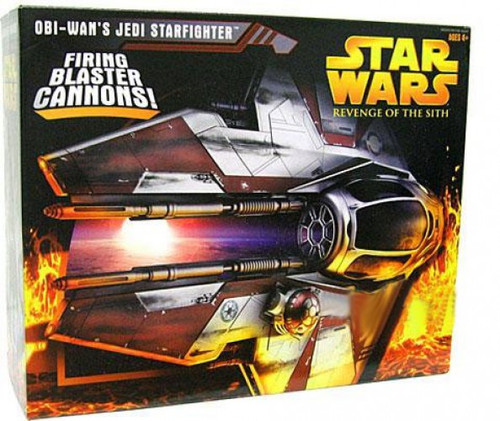 Star Wars Revenge of the Sith 2005 Obi-Wan's Jedi Starfighter Action Figure Vehicle [Red Trim]