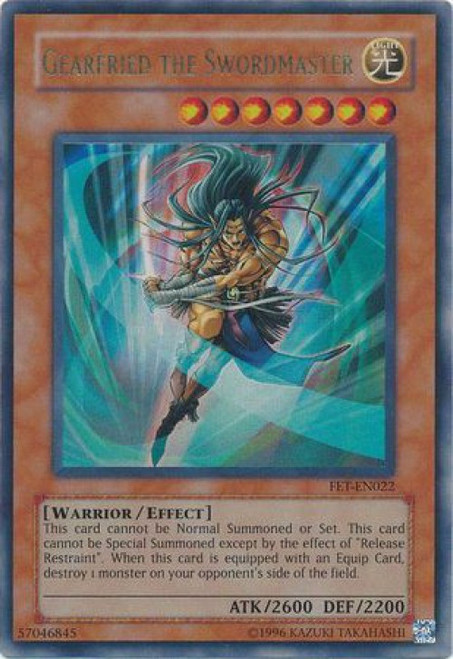 YuGiOh Flaming Eternity Ultra Rare Gearfried the Swordmaster FET-EN022