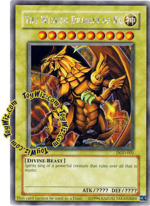 YuGiOh Dawn of Destiny Secret Rare The Winged Dragon of Ra DOD-001