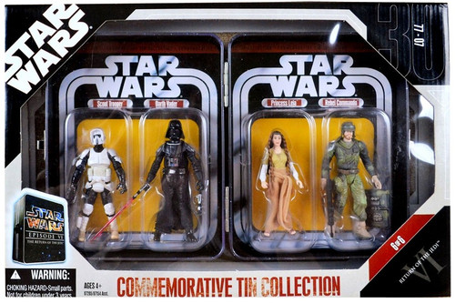 Star Wars Return of the Jedi Commemorative Tin Collection Scout Trooper, Darth Vader, Princess Leia & Rebel Commando Exclusive Action Figure 4-Pack #6 of 6