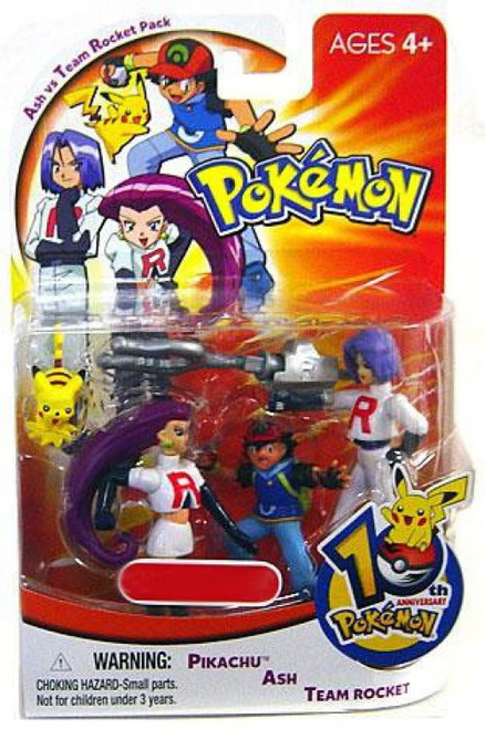 Pokemon 10th Anniversary Ash vs Team Rocket Pack Exclusive Mini Figure 4-Pack [Pikachu, Ash & Team Rocket]