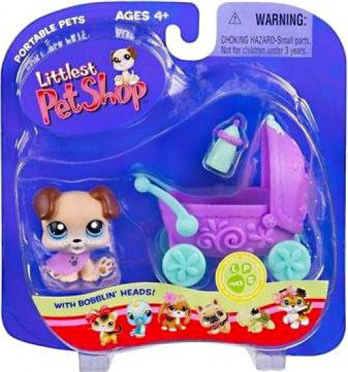 Littlest Pet Shop Portable Pets Puppy Figure #143 [Baby Carriage]