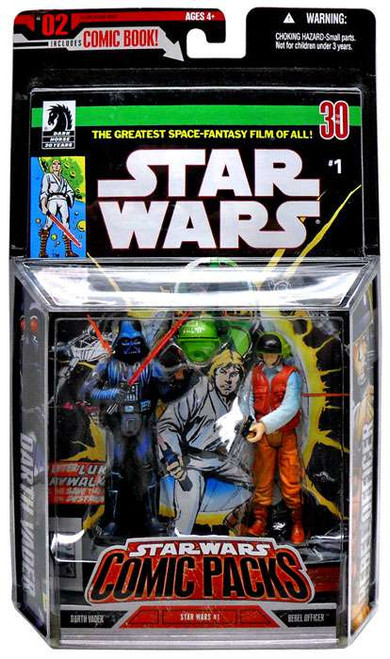 Star Wars A New Hope 2006 Comic Pack Darth Vader & Rebel Fleet Trooper Action Figure 2-Pack