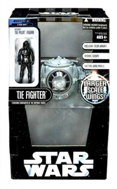 Star Wars A New Hope 2006 Saga Collection TIE Fighter [Larger Scale Wings Variant Gray Color] with Tie Pilot Action Figure Exclusive Action Figure Vehicle [Larger Scale Wings]