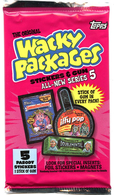Wacky Packages Topps All-New Series 5 Trading Card Sticker Pack [5 Sticker Cards!]
