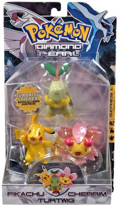 Pokemon Diamond & Pearl Series 1 Pikachu, Cherrim & Turtwig Figure 3-Pack