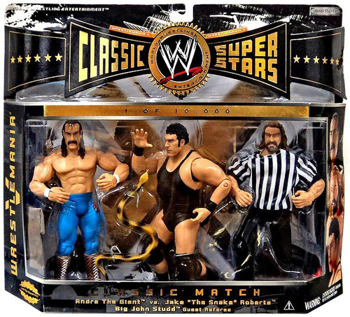 WWE Wrestling Classic Superstars Series 1 Jake The Snake Roberts, Andre the Giant & Big John Studd Exclusive Action Figure 3-Pack