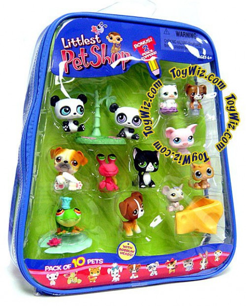 Littlest Pet Shop Pack of 10 Pets Figure 10-Pack [2 Pandas, Pig, Hermit Crab & More!]