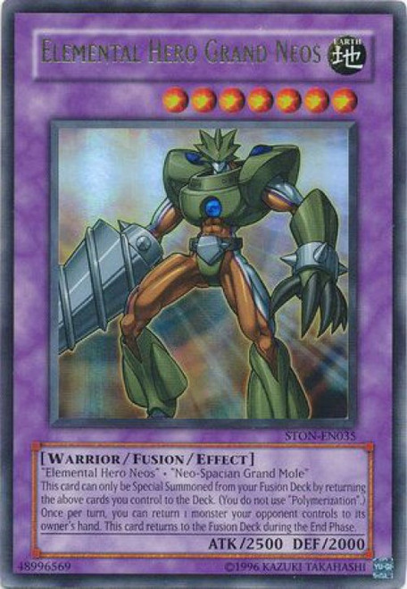 YuGiOh GX Trading Card Game Strike of Neos Ultra Rare Elemental Hero Grand Neos STON-EN035