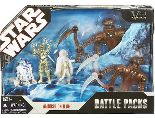 Star Wars The Clone Wars Battle Packs 2007 Ambush on Ilum Exclusive Action Figure Set [Padme, C-3PO, R2-D2 & 2 Chameleon Droids]