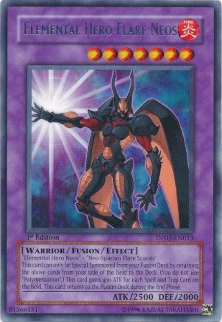 YuGiOh GX Trading Card Game Duelist Pack Jaden Yuki 2 Rare Elemental Hero Flare Neos DP03-EN013