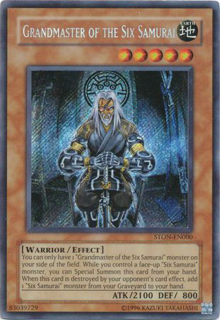 YuGiOh GX Strike of Neos Secret Rare Grandmaster of the Six Samurai STON-EN000