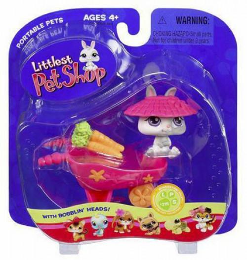 Littlest Pet Shop Portable Pets Bunny Figure #215 [With Wheelbarrow]