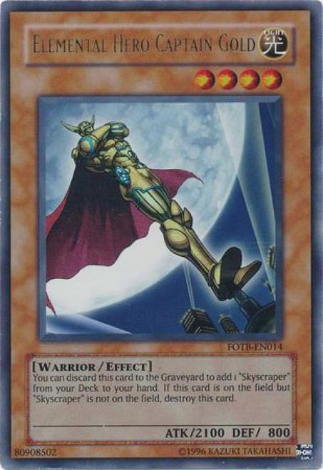 YuGiOh GX Trading Card Game Force of the Breaker Ultra Rare Elemental Hero Captain Gold FOTB-EN014