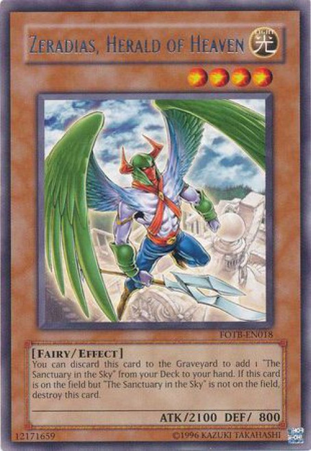 YuGiOh GX Force of the Breaker Rare Zeradias, Herald of Heaven FOTB-EN018