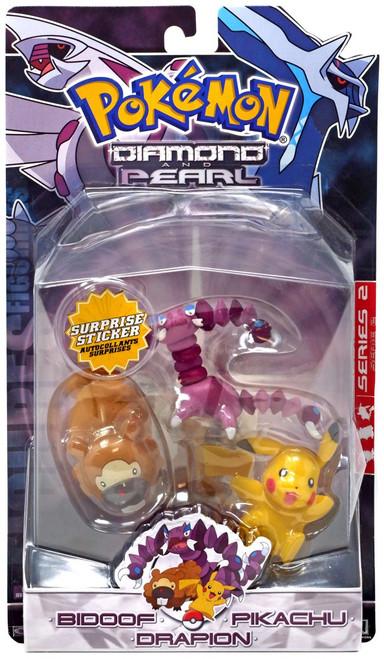 Pokemon Diamond & Pearl Series 2 Pikachu, Bidoof & Drapion Figure 3-Pack