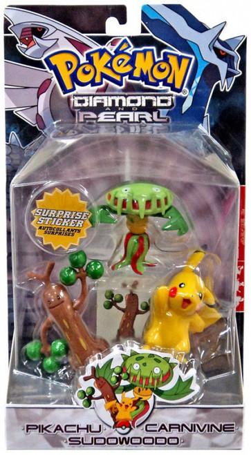 Pokemon Diamond & Pearl Series 2 Carnivine, Pikachu & Sudowoodo Figure 3-Pack