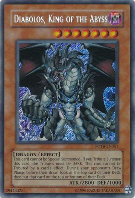 YuGiOh GX Trading Card Game Force of the Breaker Secret Rare Diabolos, King of the Abyss FOTB-EN061