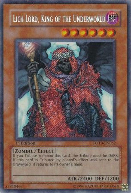 YuGiOh GX Force of the Breaker Secret Rare Lich Lord, King of the Underworld FOTB-EN062