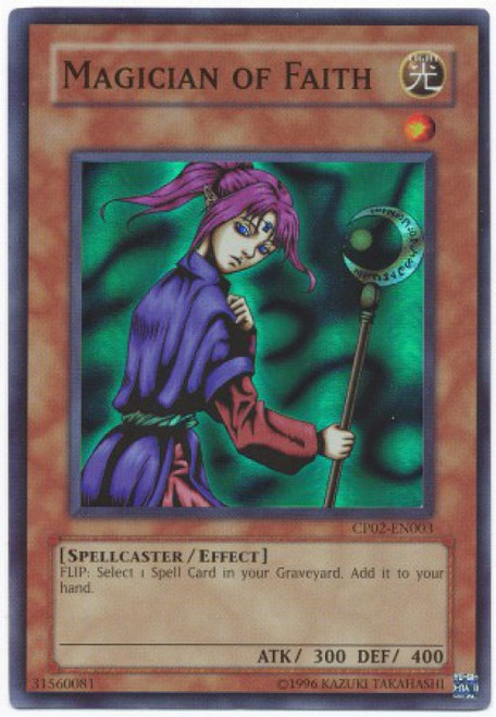YuGiOh GX Trading Card Game Champion Pack: Game 2 Super Rare Magician of Faith CP02-EN003