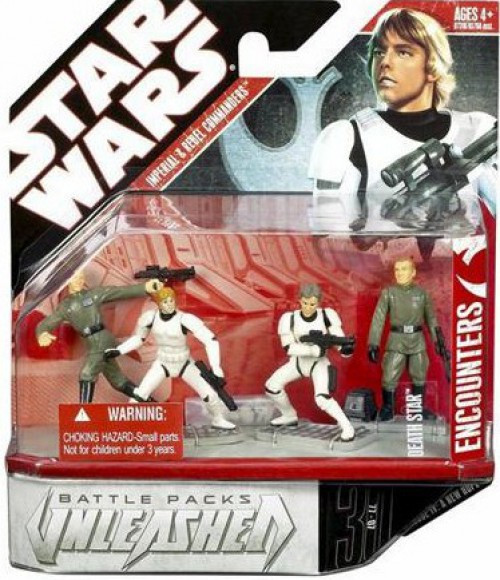 Star Wars Unleashed Battle Packs 2007 Imperial & Rebel Commanders Action Figure 4-Pack