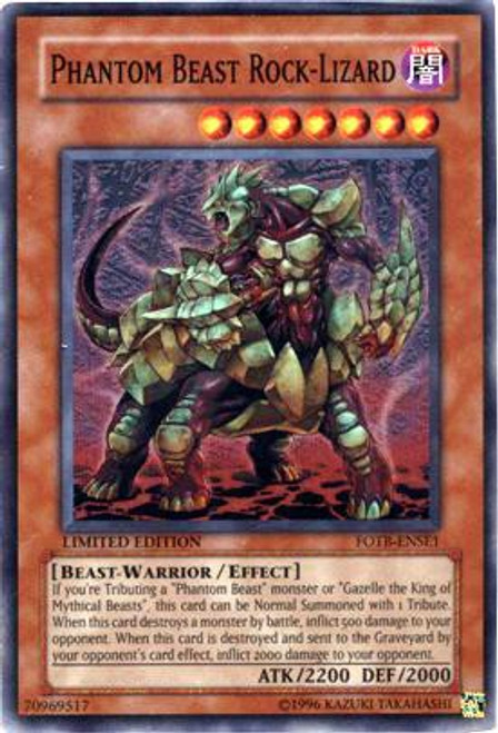 YuGiOh GX Trading Card Game Force of the Breaker Special Edition Super Rare Phantom Beast Rock Lizard FOTB-ENSE1