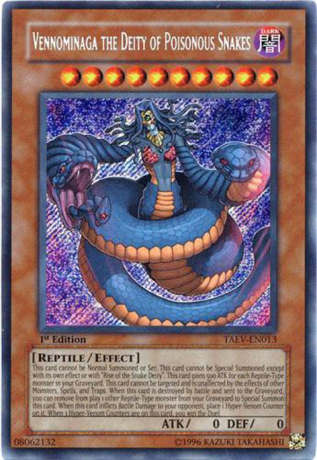 YuGiOh GX Trading Card Game Tactical Evolution Secret Rare Vennominaga the Deity of Poisonous Snakes TAEV-EN013