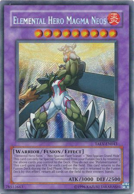 YuGiOh GX Trading Card Game Tactical Evolution Secret Rare Elemental Hero Magma Neos TAEV-EN043