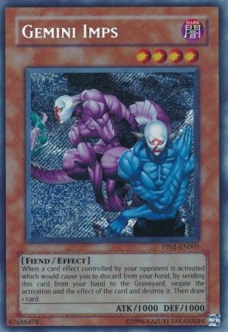 YuGiOh GX Trading Card Game Premium Pack 1 Secret Rare Gemini Imps PP01-EN005