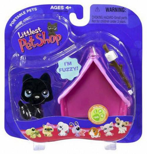 Littlest Pet Shop Portable Pets Black Dog with Pink Tent Figure