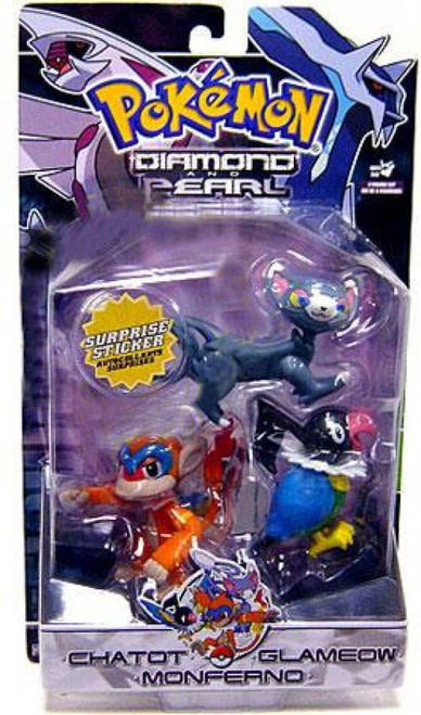 Pokemon Diamond & Pearl Series 3 Chatot, Glameow & Monferno Figure 3-Pack