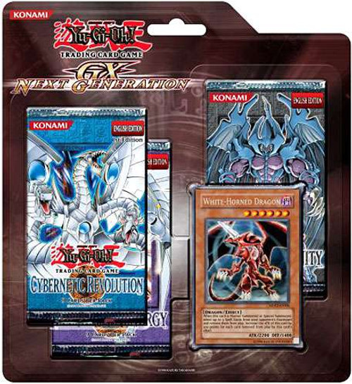 YuGiOh Trading Card Game Generation Next White Horned Dragon Special Edition [3 Booster Packs & Promo Card]