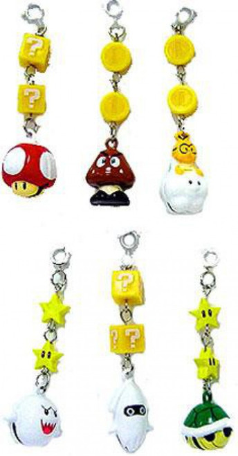 New Super Mario Bros Wii Set of 6 Tin Bell Charms