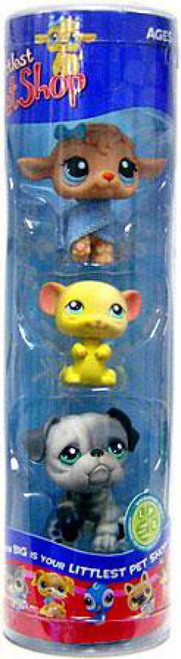 Littlest Pet Shop Lamb, Yellow Mouse & Gray Bulldog Figure 3-Pack