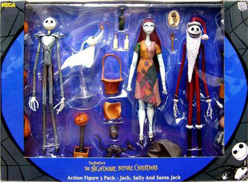 NECA Nightmare Before Christmas Jack, Sally & Santa Jack Action Figure 3-Pack