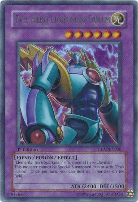 YuGiOh GX Trading Card Game Gladiator's Assault Ultra Rare Evil Hero Lightning Golem GLAS-EN039
