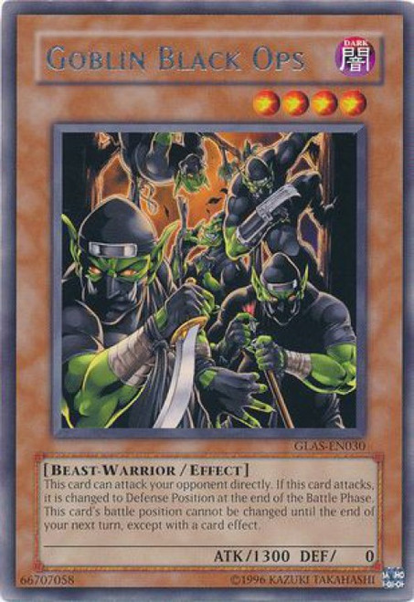 YuGiOh GX Trading Card Game Gladiator's Assault Rare Goblin Black Ops GLAS-EN030